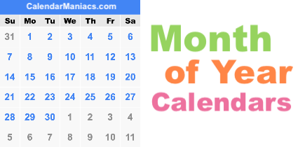 Month of Year Calendars