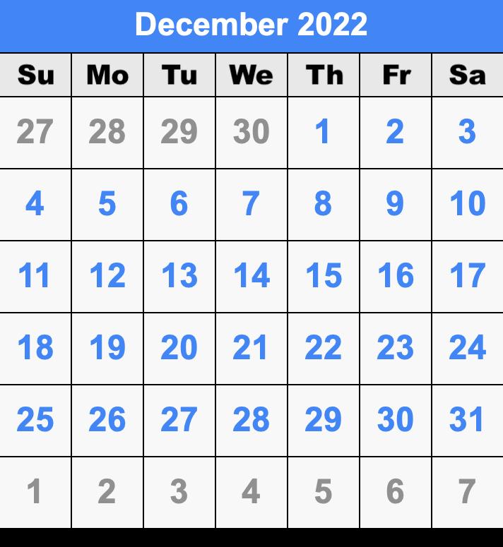 Calendar For December 2022.December 2022 Calendar