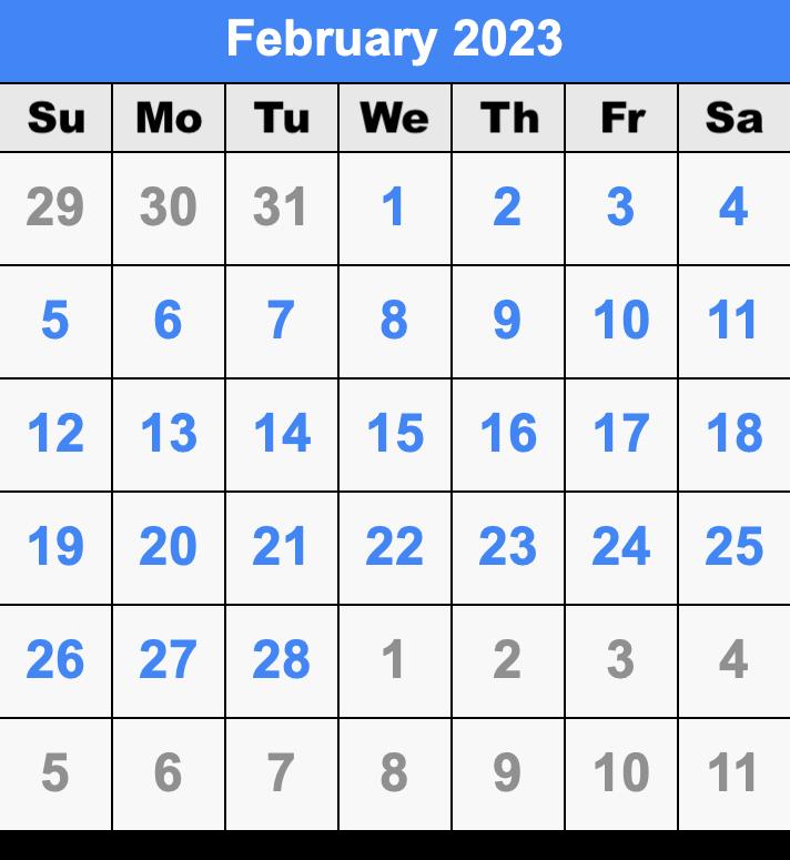 2023 2022 Calendar.February 2023 Calendar