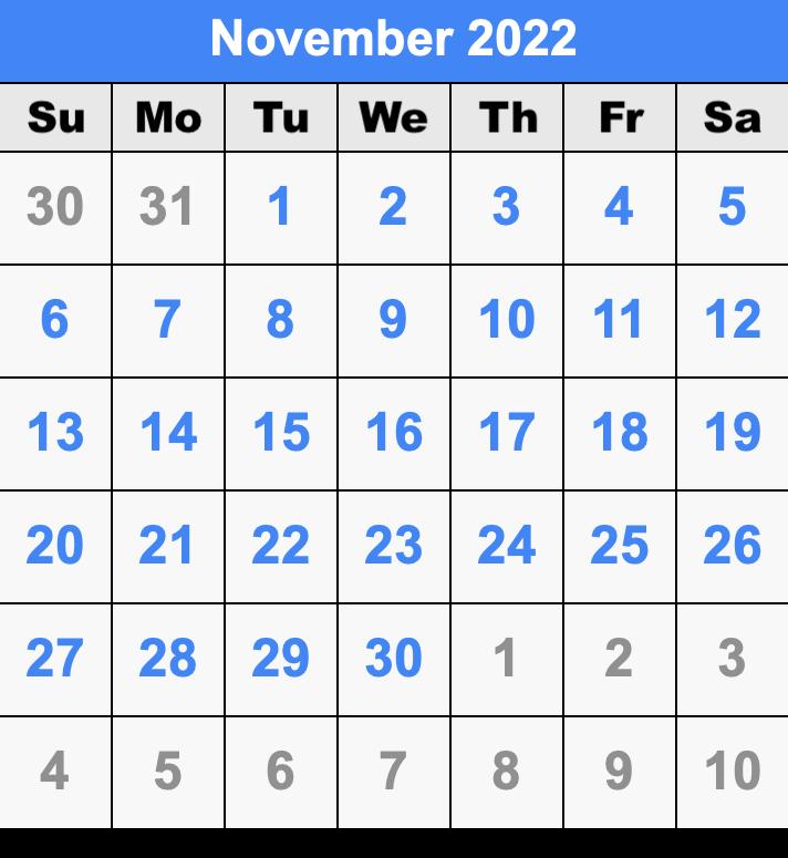 Printable November 2022 Calendar.November 2022 Calendar