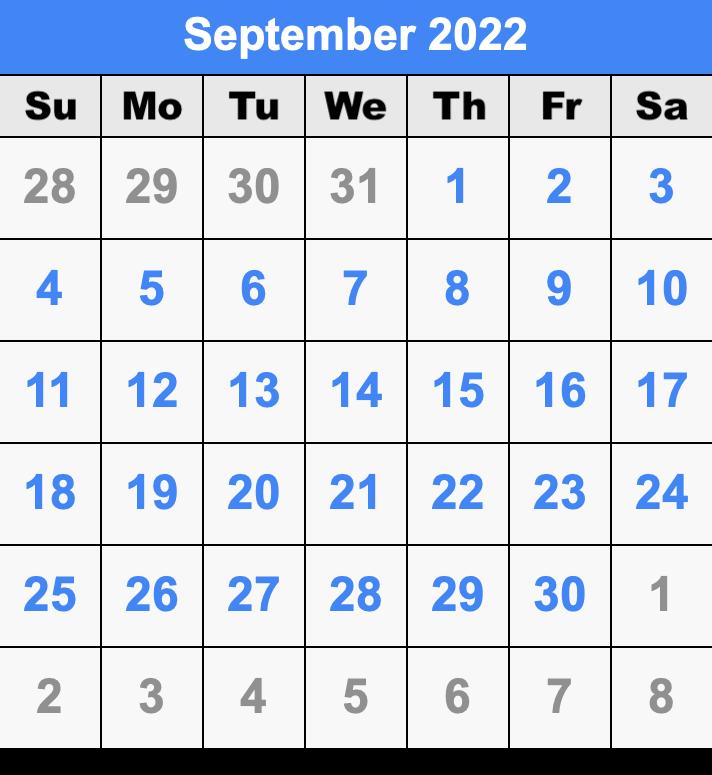 Sep 2022 Calendar.September 2022 Calendar