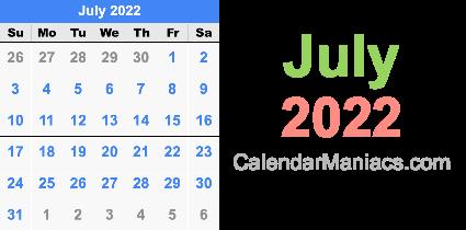 July 4 2022 Calendar.July 2022 Calendar